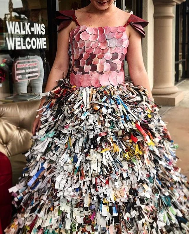Trashion Fashion was a success! The Pistachio team built this year's dress using recycled materials from the salon, such product bottles, plastic bags, boxes, and magazines. Thank you to all of our guests and first time visitors that stopped in to celebrate with us!_____________________________________#instahair #instabeauty #atthesalon #salonlife #hair #hairspiration #hairsalon #haircolor #hairstyles #hairstyling #haircut #carlsbad #sandiego #sandiegohair #carlsbadhair #aveda #avedacolor #avedaproducts #avedaartist #smellslikeaveda #recycleddress #recycledfashion #trashionfashion