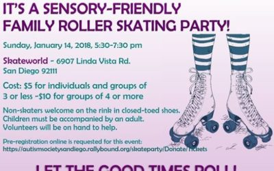 """""""Join us on Sunday, January 14th from 5:30 – 7:30 PM for a sensory friendly family roller skating party at Skateworld! All ages are welcome to participate, and volunteers will be on hand to help. Non skaters are welcome on the rink in closed toed shoes, and food and drinks will be available to purchase. You won't want to miss this fun family event!"""" Click on the following link for ticket information-https://autismsocietysandiego.rallybound.org/…/Dona…/Tickets@autismsocietysandiego"""