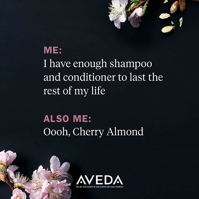 Honestly, IS there such a thing as too many shampoos and conditioners? We're going to go with NO —especially when you're talking about #CherryAlmond! No shower is complete without its softening magic and sweet, juicy aroma. #smellslikeaveda___________________________#instahair #instabeauty #atthesalon #salonlife #hair #hairspiration #hairsalon #haircolor #hairstyles #hairstyling #haircut #carlsbad #sandiego #sandiegohair #carlsbadhair #aveda #avedacolor #avedaproducts #avedaartist #smellslikeaveda #crueltyfree #botanicals #knowwhatyouremadeof #plazapaseoreal #cherryalmond