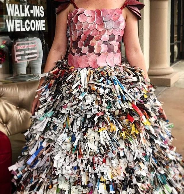 Trashion Fashion was a success! The Pistachio team built this year's dress using recycled materials from the salon, such product bottles, plastic bags, boxes, and magazines. Thank you to all of our guests and first time visitors that stopped in to celebrate with us!