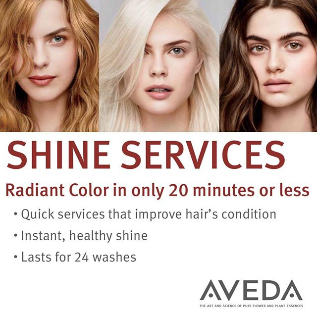Get ready to shine this summer! Hair Color Shine Treatments are infused with plant oils that boost shine and improve your hair's condition in just 5-20 minutes. You'll see and feel the difference right away, whether you're glossing your natural color, refreshing color, or coloring gray. Call to book one with your next service!