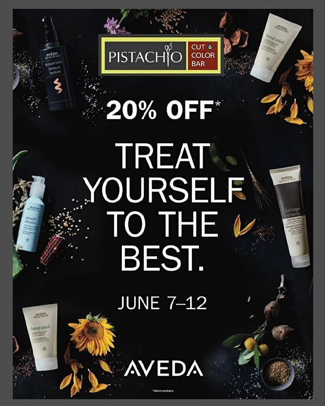 From now until next Tuesday, June 12th, ALL AVEDA products are 20% OFF at Pistachio Cut & Color Bar.This special promotion happens only once a year and supplies are limited.Drop by Pistachio today to stock up on your favorite products!_______________________________#instahair #instabeauty #atthesalon #salonlife #hair #hairspiration #hairsalon #haircolor #hairstyles #hairstyling #haircut #carlsbad #sandiego #sandiegohair #carlsbadhair #aveda #avedacolor #avedaproducts #avedaartist #smellslikeaveda #crueltyfree #botanicals #customerappreciation