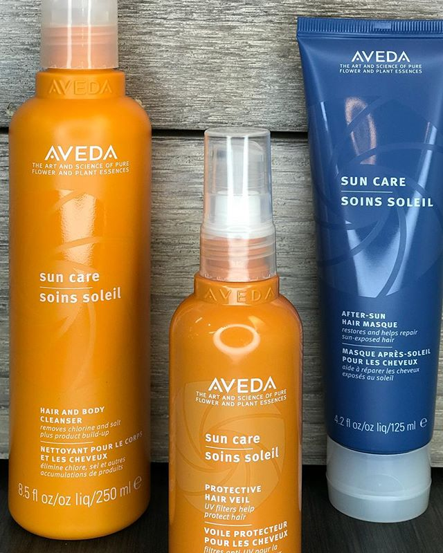 SunCare for your hair!??♀️? Come get your summer fix to help save your beautiful hair from the harmful effects of UVA/ UVB exposure. Use Aveda Sun Care Hair Veil to prevent color from fading and Sun Care Hair & Body Cleanser to prevent discoloration and remove build up from chlorine/salt water. Finish with your After-Sun Hair Masque to replenish moisture and repair sun-exposed hair. Pistachio has your summer hair care needs covered! ???♀️