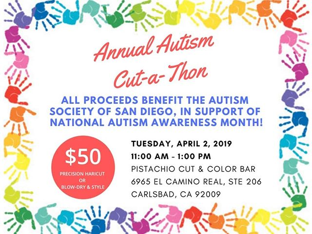 Support a great cause by booking a haircut or blow-dry and style during our Annual Autism Cut-a-Thon! Space is limited and appointments are recommended at (760) 230-4880 or reception@pistachiohair.com!___________________________#instahair #instabeauty #atthesalon #salonlife #hair #hairspiration #hairsalon #haircolor #hairstyles #hairstyling #haircut #carlsbad #sandiego #sandiegohair #carlsbadhair #aveda #avedacolor #avedaproducts #avedaartist #smellslikeaveda #crueltyfree #autism #fundraiser #autismawareness #autistic #spectrum